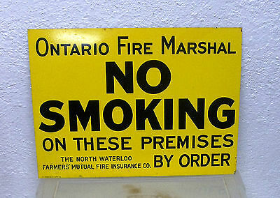 Vintage Ontario Fire Marshal NO SMOKING sign Waterloo barn insurance St Thomas