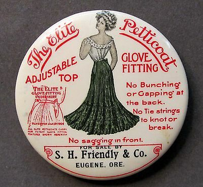 c.1900 Jackson Skirt ELITE PETTICOAT Friendly Co. Eugene OREGON pocket mirror *