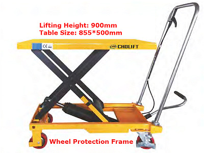 300 kg lift hydraulic table trolley scissor dolly lifting height 900mm 855*500