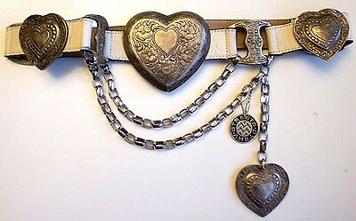 Vintage 1970s - 1980s Streets Ahead white leather belt intricate Heart Buckle