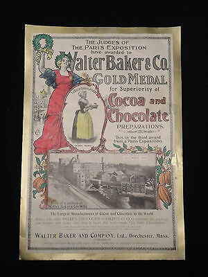 Vintage 1900 Walter Baker & Co Chromolitho Cocoa & Chocolate Print Ad Colorful