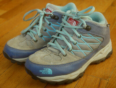THE NORTH FACE Hiking Boots Girls Size 1 Hydroseal Blue Gray Shoes Kids Youth