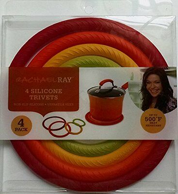 Rachel Ray 4 silicone trivets concentric multi-color circles