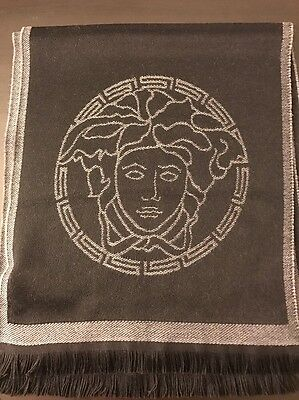 Versace Men's Black / Grey 100% Wool Scarf Shawl One Size