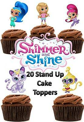 Shimmer and Shine Edible Wafer Card Stand up Cake toppers x 20
