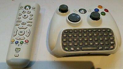 Xbox 360 Microsoft Official WHITE Controller + remote + Chatpad Messenger Pad