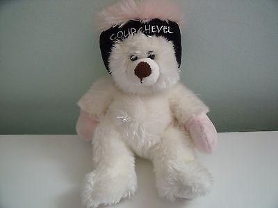 Lovely Fluffy White Teddy Bear Wearing Courcheval Skiing Hat And Gloves