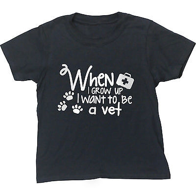 When I grow up I want to be a vet kids short sleeve t-shirt
