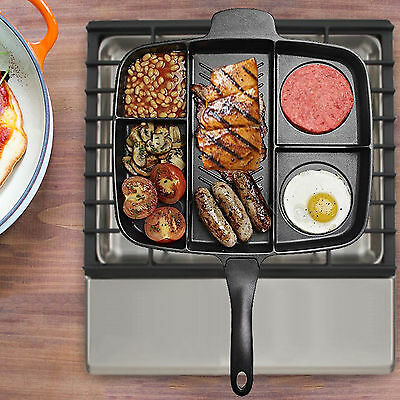 Non Stick Multi-Section 5 In 1 Multiple Frying Pan Grill Cooked Breakfast & More