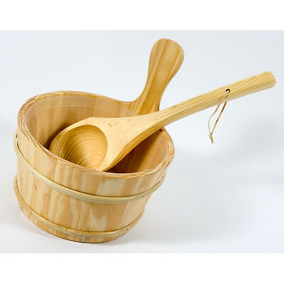 NEW! BALTIC LEISURE Wooden Water Bucket and Ladle Dipper Set with Liner
