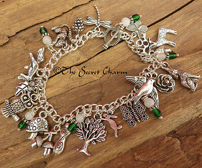Daughter of the Forest Charm Bracelet - Silver Wiccan Bracelet - Pagan Jewellery