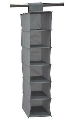 6 Section Shelves Hanging Wardrobe Shoe Garment Organiser Storage Clothes Grey