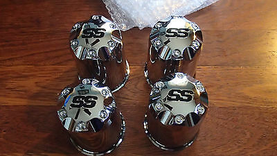 "LOT OF 4 SS CAPS #40903 FOR GOLF CARTS~Push Thru 2.65""~Chrome Finish ABS Plastic"