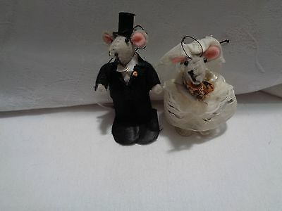 hand crafted 2 3/4 in. mice bride and groom ornaments WEDDING cake toppers