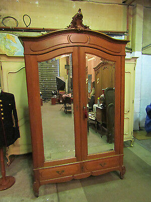 Bow top antique french carved oak armoire double mirror doors wardrobe c1890