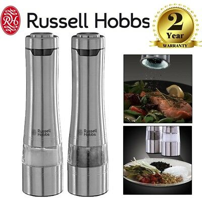 Russell Hobbs Battery Operated Salt and Pepper Ceramic Grinder Mill Set 23460-56