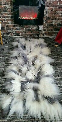 GENIUNE  Icelandic Sheepskin rug GREY /SILVER/WHITE/black  XXL  LONG HAIR