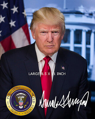 Signed OFFICIAL PORTRAIT OF PRESIDENT DONALD J TRUMP  8.5 X 11 GLOSSY PHOTO