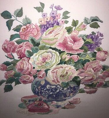 shabby chic hand crewel embroidery large vase of flowers completed