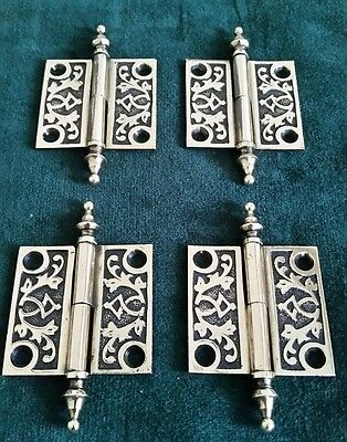 Set Of 4 Antique Brass Victorian 2 By 2 Cabinet Hinges