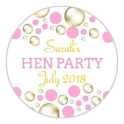 24 Personalised Pink And Gold Hen Do Night Party Weekend Stickers Labels Seals
