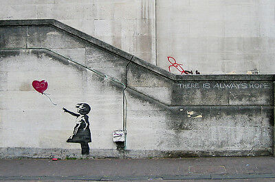 There Is Always Hope, Balloon Girl by Banksy 18x12 Print Poster Urban Street Art