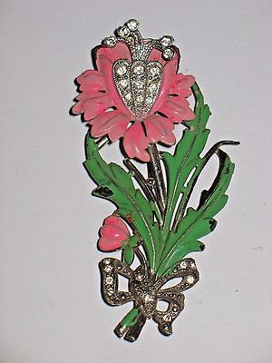 Rare! 1930's  Vintage Signed New England Glass Enamel & Rhinestone Flower Brooch