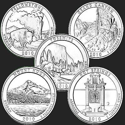 USA American the Beautiful Quarter Dollar Pure Series 2010 5 Coins #