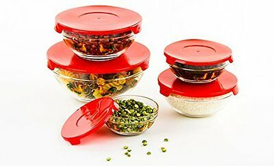10pcs Glass Bowls or Food Storage Bowls Set with Red Lids Rooster Design, New