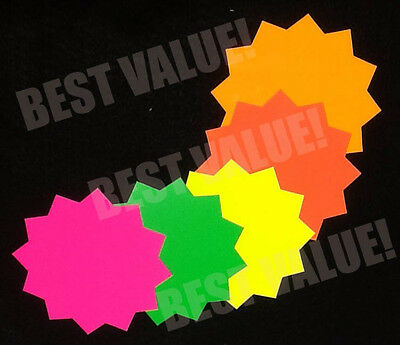 "4"" Round Fluorescent Star Burst Price Tags Neon Retail Sale Cards Signs"