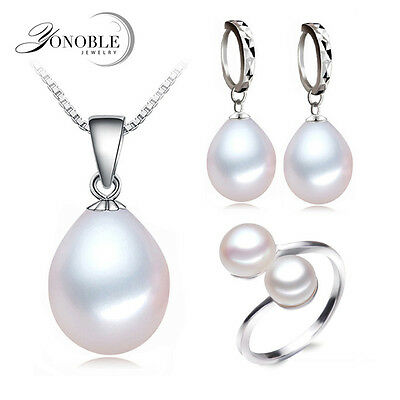 Natural freshwater Pearl Jewelry 3 pcs set adjustable ring/925 sterling silver