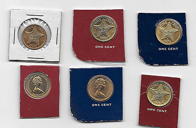 each 1971,   72, or 1973  BAHAMAS 1 cent Starfish UNC