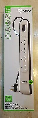 Belkin BSV401af2M 4 Way 2m Surge Protection Strip with 2 x 2.4 A Shared USB