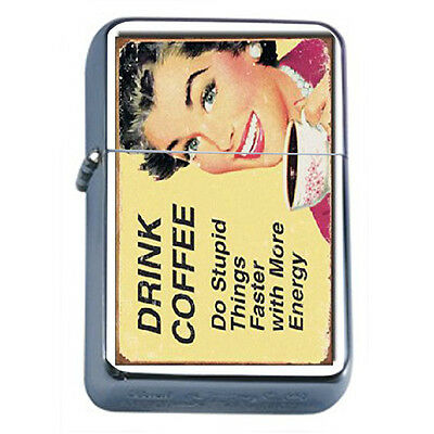 Vintage Poster D22 Windproof Dual Flame Torch Lighter Drink Coffee Stupid Things