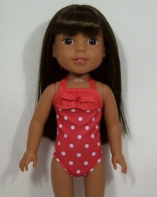 Debs YELLOW Polka Dot Swimsuit Doll Clothes For 14 American Girl Wellie Wishers