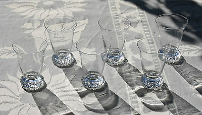 """Daum France clear crystal """" Kim """"   6 Sherry Cordial glasses    signed    (2)"""