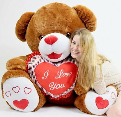 Giant Teddy Bear Soft Brown Romantic with Big Plush I LOVE YOU Heart Pillow 40""