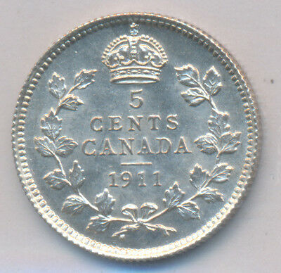 Canada 5 Cents 1911 - ICCS MS-64