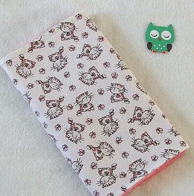 Handcrafted, Flannel, Kitty & Butterfly Print /  Pink Minky, Baby Burp Cloth