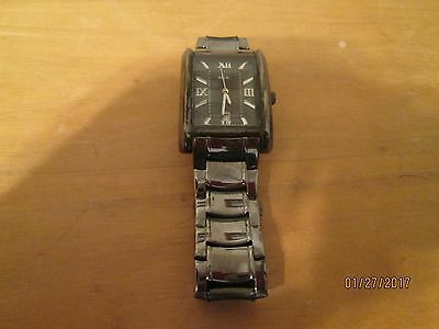 Relic Fossil Watch Men's Analog Quartz Black with Silver tone numbers Date displ