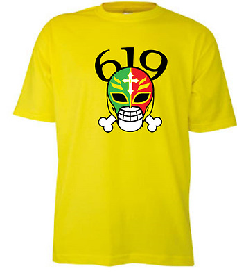 Rey Mysterio 619 Art Yellow T Shirt Wrestling WCW WWF ALL SIZES Tee