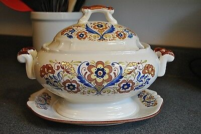 Vintage Ceramic Soup Tureen and Matching Base Plate in Blue and Brown Floral