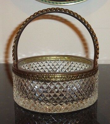 Antique Baccarat Crystal Bronze Ormolu Basket