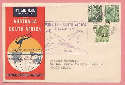 1952 Australia First Flight Airmail Cover Qantas To Cocos Island