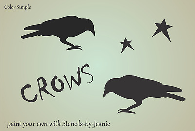 Stencil Crow Bird Star Country Garden Primitive Folk Art Family Porch Craft Sign