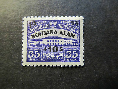 1953 - Indonesia - Surcharged In Black - Scott B68 A53 35S On 10S (2)
