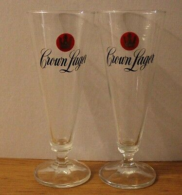 2 X Collectable Crown Larger Glasses Perfect For Bar Or Man Cave