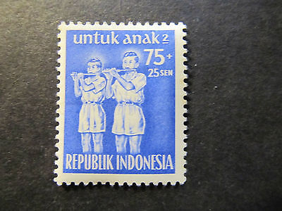 1954 - Indonesia - Bamboo Flute Players - Scott B81 Sp46 75S + 25S (3)