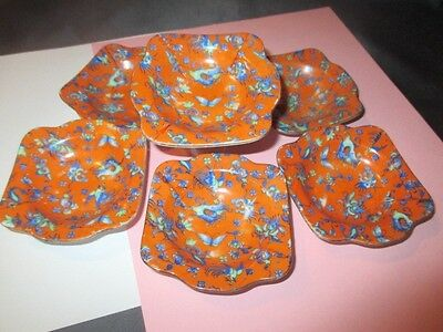 6 Butter Pat Jam Soy Bowls Dragon Chintz In Blue Tangerine Field Pearl China