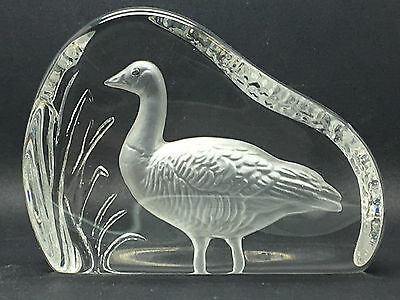 Wedgwood Clear Glass Goose Flat Bird Paperweight Signed under
